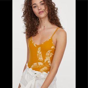 H&m yellow printed bodysuit
